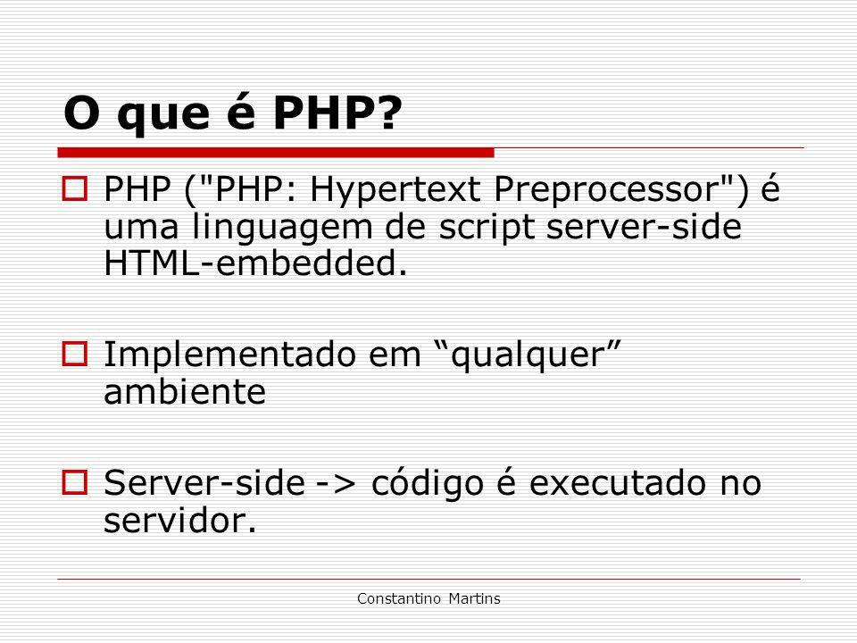 O que é PHP PHP ( PHP: Hypertext Preprocessor ) é uma linguagem de script server-side HTML-embedded.