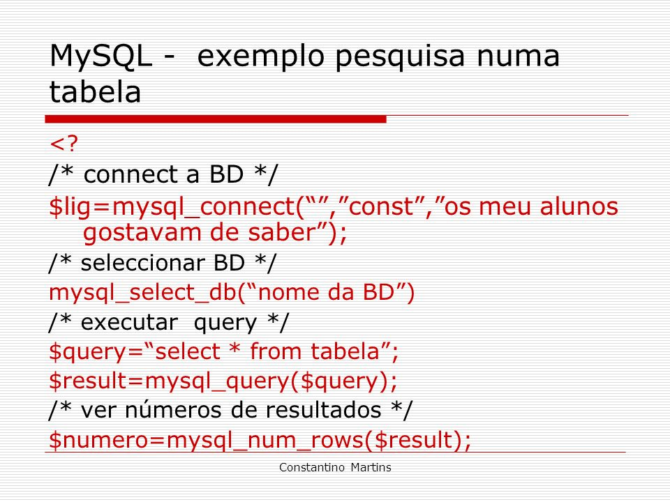 MySQL - exemplo pesquisa numa tabela