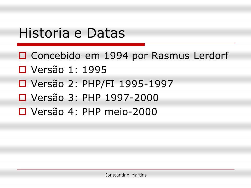 Historia e Datas Concebido em 1994 por Rasmus Lerdorf Versão 1: 1995