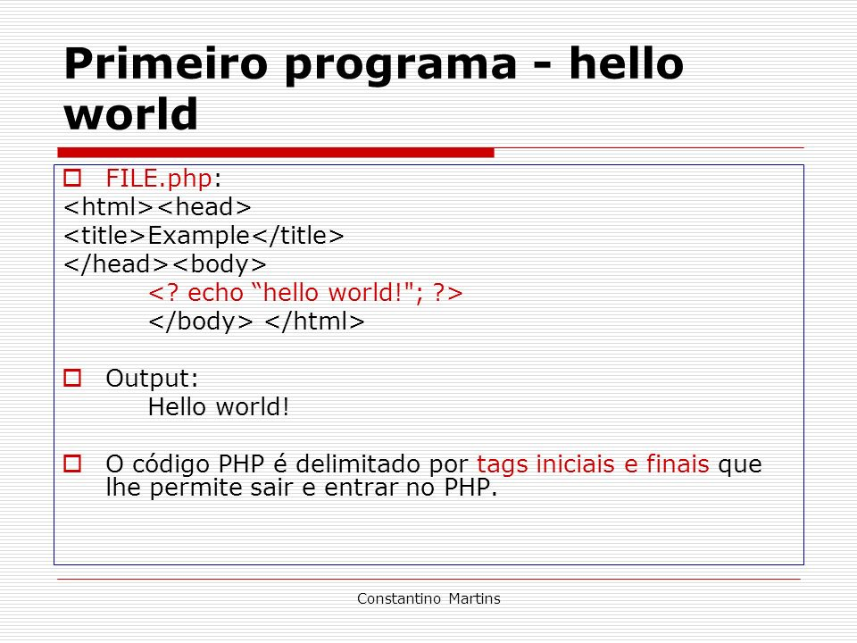 Primeiro programa - hello world