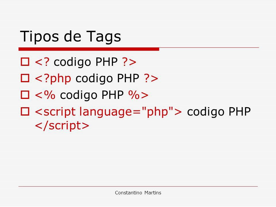 Tipos de Tags < codigo PHP > < php codigo PHP >