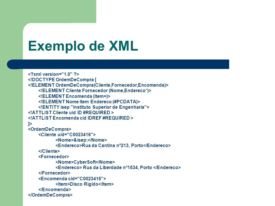 Exemplo de XML < xml version= 1.0 >