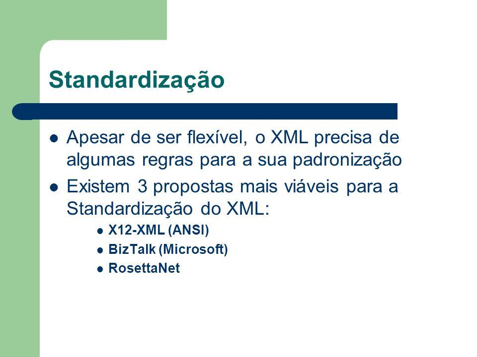 Standardização Apesar de ser flexível, o XML precisa de algumas regras para a sua padronização.