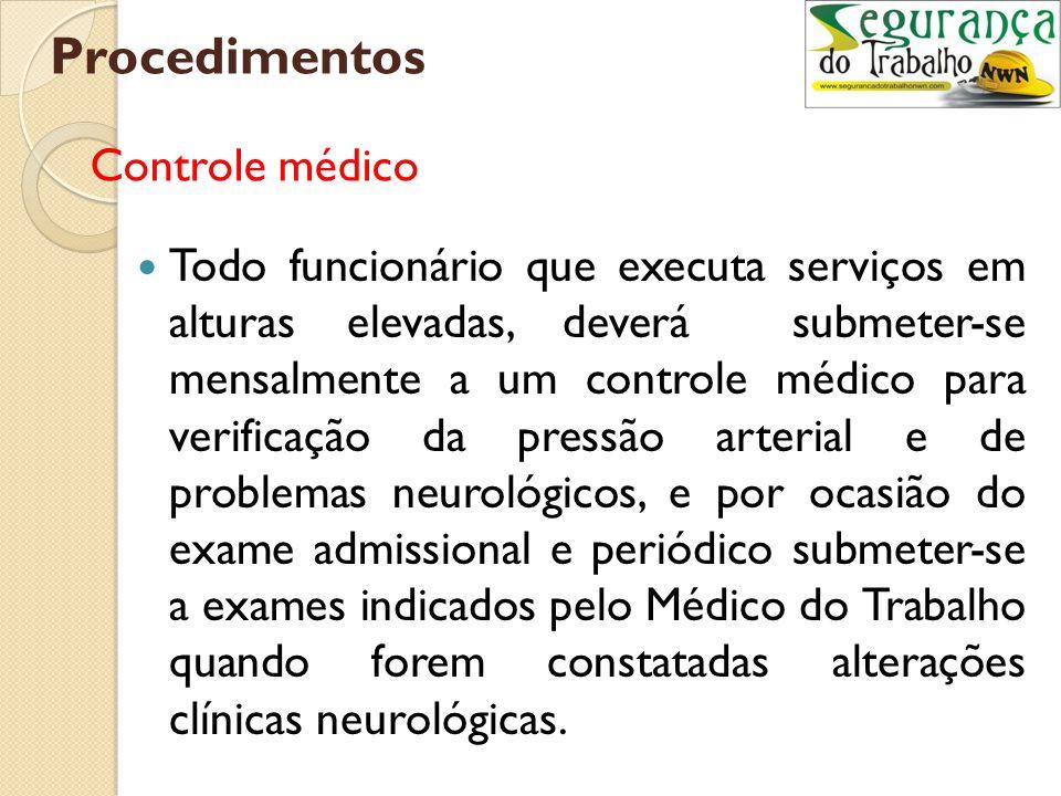 Procedimentos Controle médico