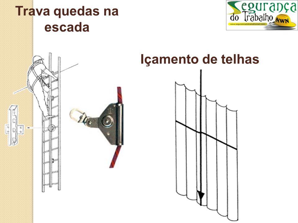 Trava quedas na escada Içamento de telhas