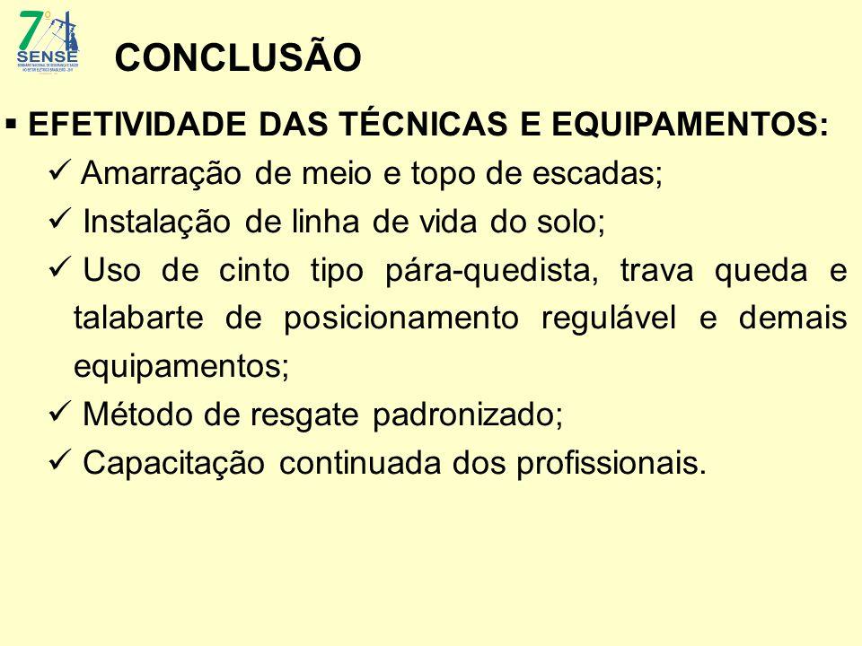 CONCLUSÃO EFETIVIDADE DAS TÉCNICAS E EQUIPAMENTOS: