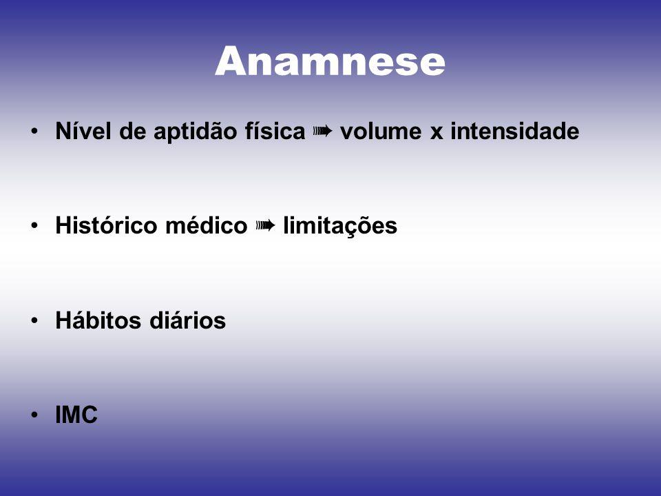 Anamnese Nível de aptidão física ➠ volume x intensidade