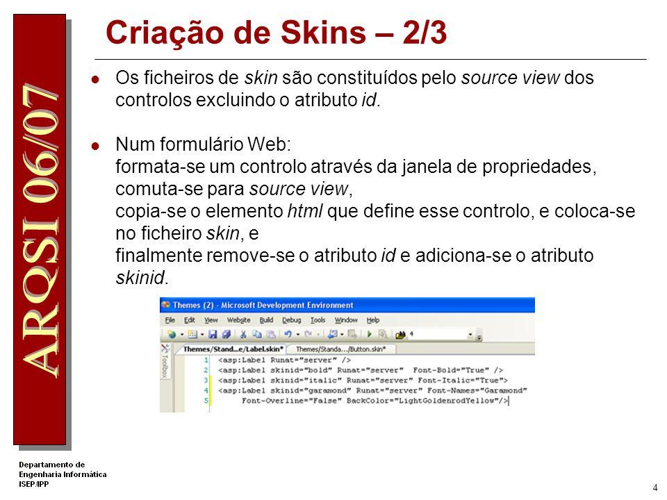 Criação de Skins – 2/3 Os ficheiros de skin são constituídos pelo source view dos controlos excluindo o atributo id.