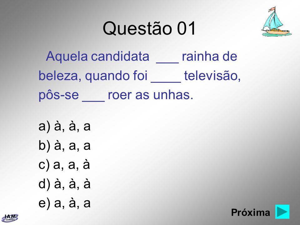 Questão 01 Aquela candidata ___ rainha de