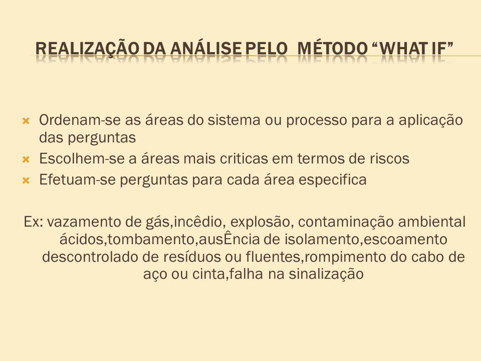 REALIZAÇÃO DA ANÁLISE PELO MÉTODO WHAT IF