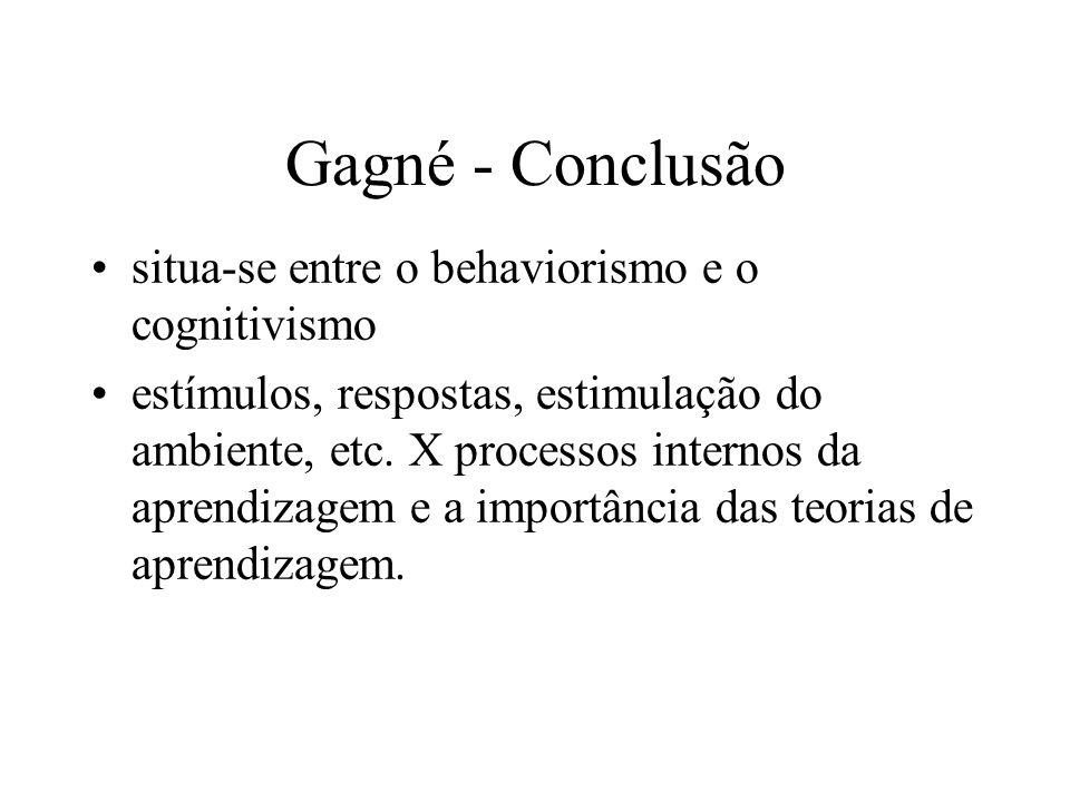 Gagné - Conclusão situa-se entre o behaviorismo e o cognitivismo