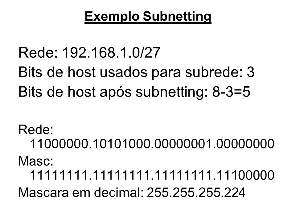 Bits de host usados para subrede: 3