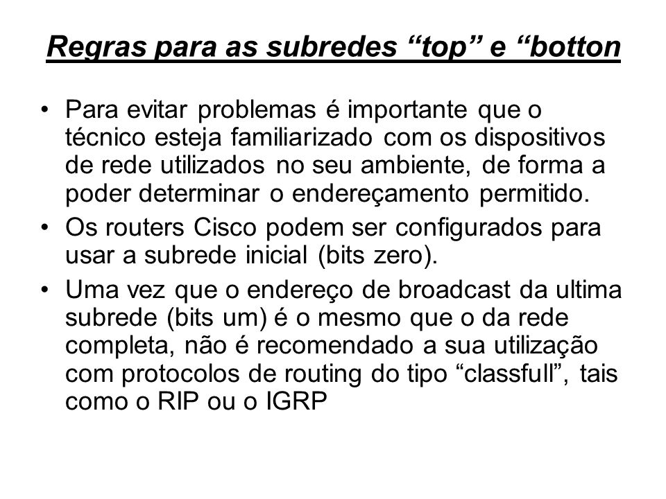 Regras para as subredes top e botton