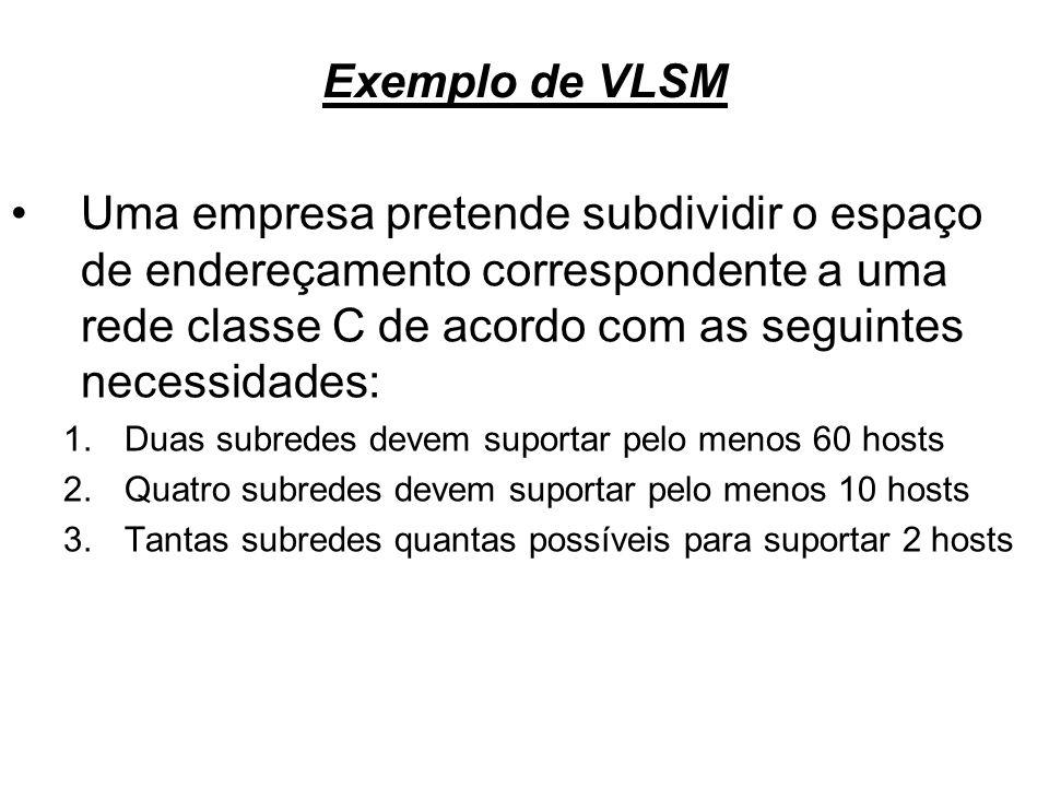 Exemplo de VLSMUma empresa pretende subdividir o espaço de endereçamento correspondente a uma rede classe C de acordo com as seguintes necessidades: