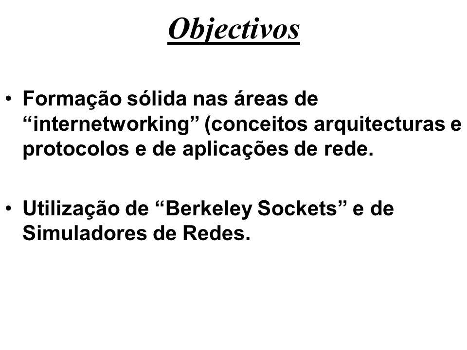 ObjectivosFormação sólida nas áreas de internetworking (conceitos arquitecturas e protocolos e de aplicações de rede.