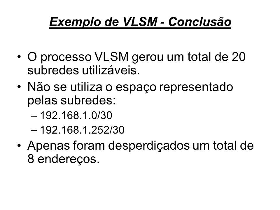 Exemplo de VLSM - Conclusão