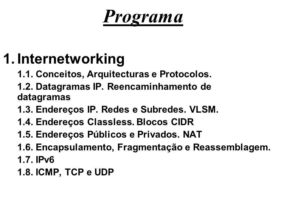 Programa Internetworking 1.1. Conceitos, Arquitecturas e Protocolos.
