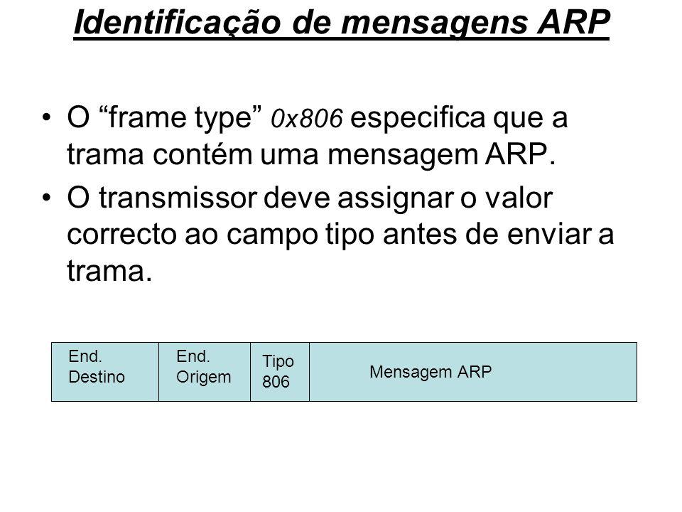 Identificação de mensagens ARP