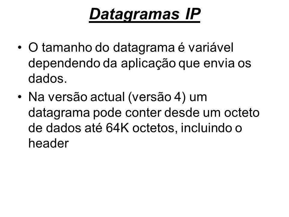 Datagramas IP O tamanho do datagrama é variável dependendo da aplicação que envia os dados.