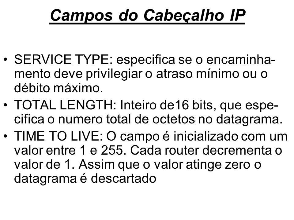 Campos do Cabeçalho IP SERVICE TYPE: especifica se o encaminha-mento deve privilegiar o atraso mínimo ou o débito máximo.