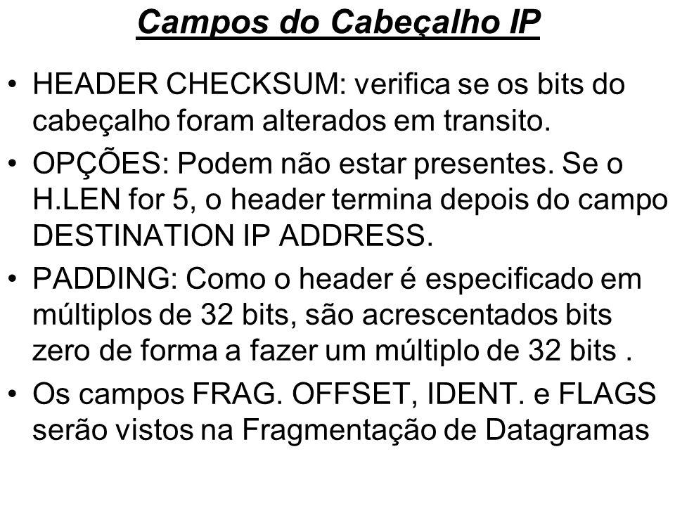 Campos do Cabeçalho IP HEADER CHECKSUM: verifica se os bits do cabeçalho foram alterados em transito.