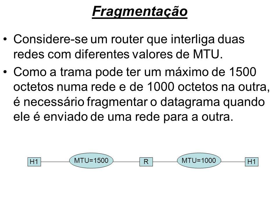 Fragmentação Considere-se um router que interliga duas redes com diferentes valores de MTU.