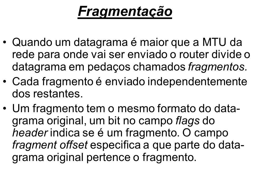 FragmentaçãoQuando um datagrama é maior que a MTU da rede para onde vai ser enviado o router divide o datagrama em pedaços chamados fragmentos.