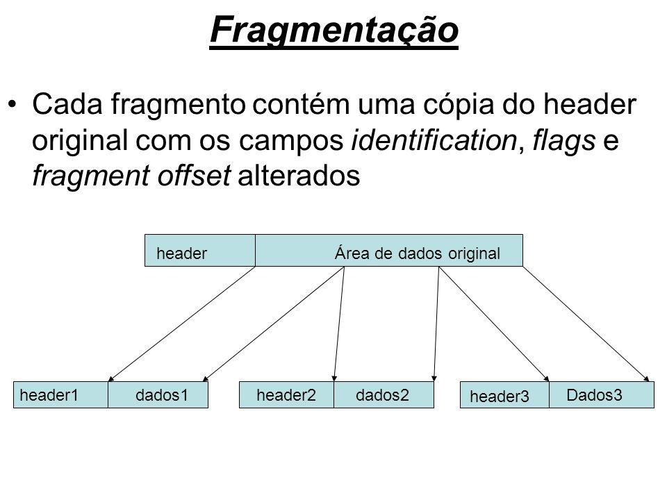 Fragmentação Cada fragmento contém uma cópia do header original com os campos identification, flags e fragment offset alterados.