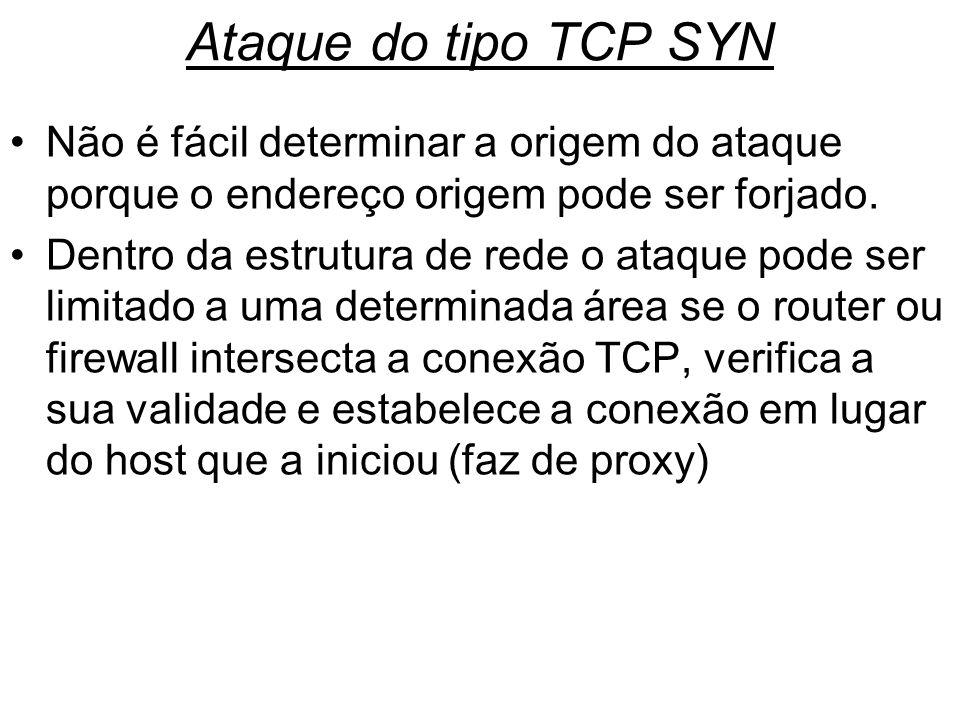 Ataque do tipo TCP SYNNão é fácil determinar a origem do ataque porque o endereço origem pode ser forjado.