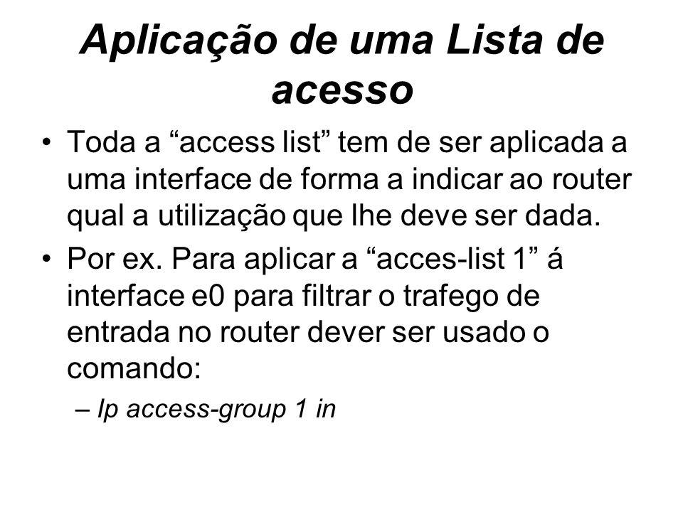 Aplicação de uma Lista de acesso