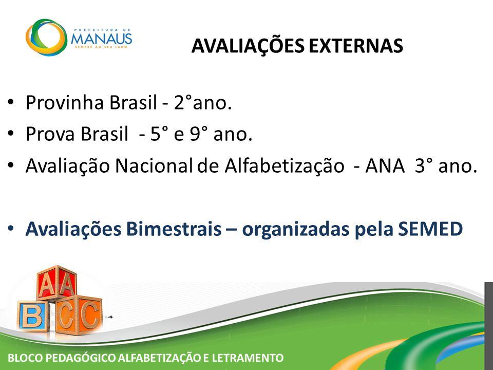 AVALIAÇÕES EXTERNAS Provinha Brasil - 2°ano. Prova Brasil - 5° e 9° ano. Avaliação Nacional de Alfabetização - ANA 3° ano.