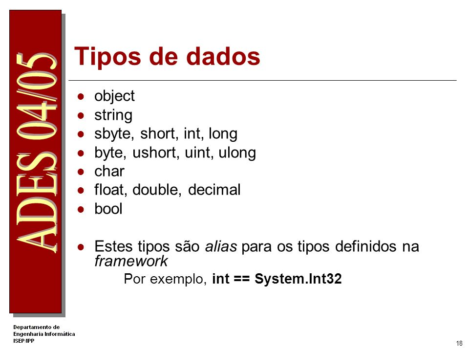 Tipos de dados object string sbyte, short, int, long