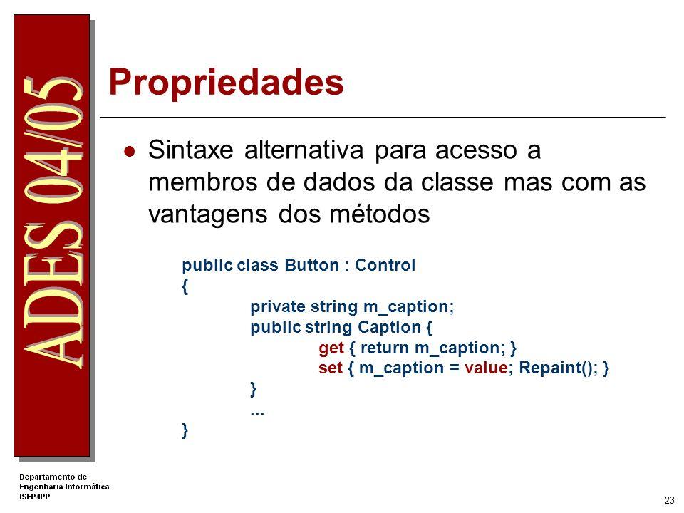 .Net Apprentice Propriedades. Sintaxe alternativa para acesso a membros de dados da classe mas com as vantagens dos métodos.