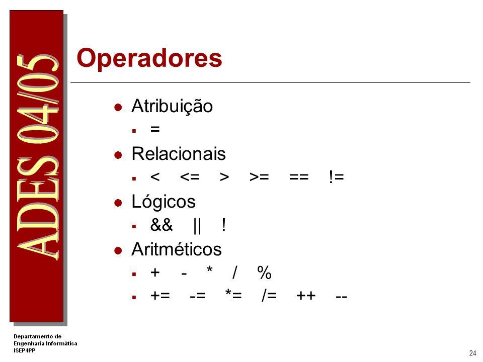 Operadores Atribuição Relacionais Lógicos Aritméticos =
