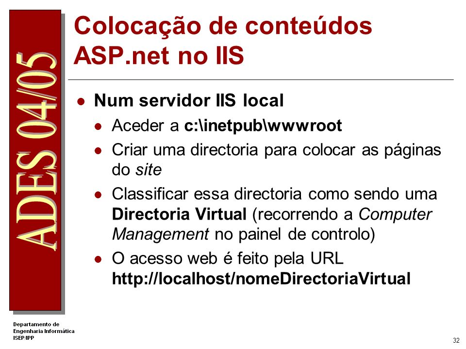 Colocação de conteúdos ASP.net no IIS