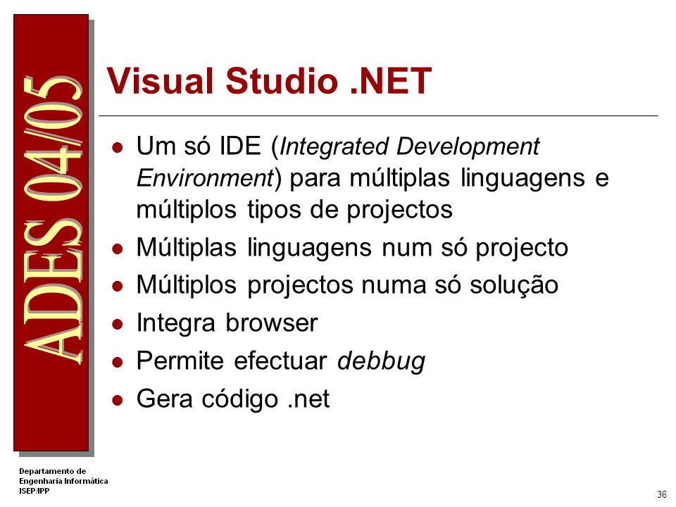 .Net Apprentice Visual Studio .NET. Um só IDE (Integrated Development Environment) para múltiplas linguagens e múltiplos tipos de projectos.