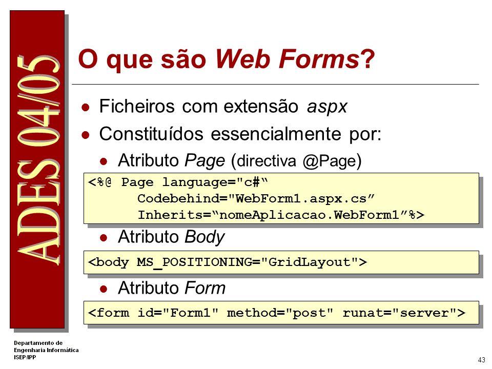 O que são Web Forms Ficheiros com extensão aspx