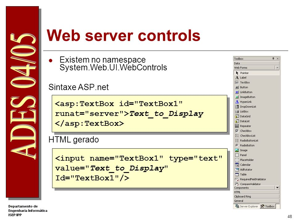 Web server controls Existem no namespace System.Web.UI.WebControls