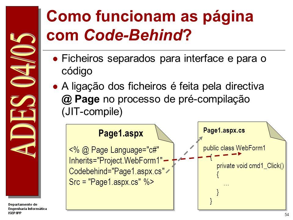 Como funcionam as página com Code-Behind