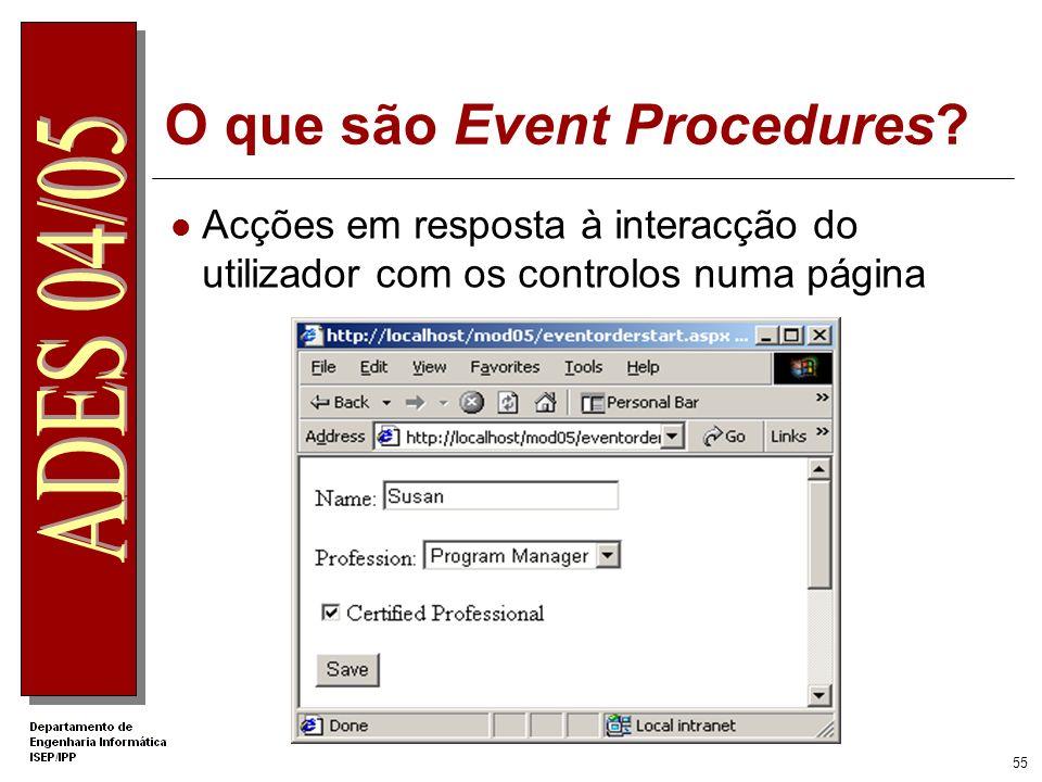 O que são Event Procedures