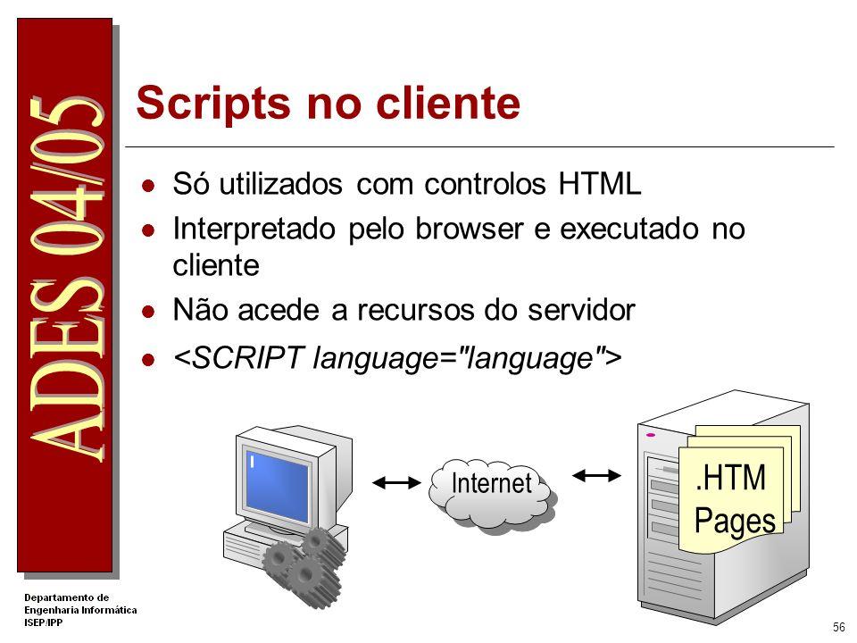 Scripts no cliente .HTM Pages Só utilizados com controlos HTML
