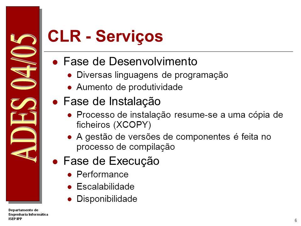 CLR - Serviços Fase de Desenvolvimento Fase de Instalação