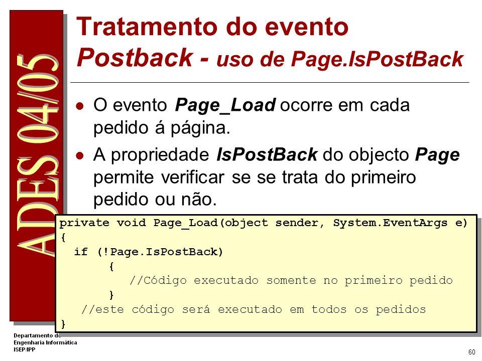 Tratamento do evento Postback - uso de Page.IsPostBack