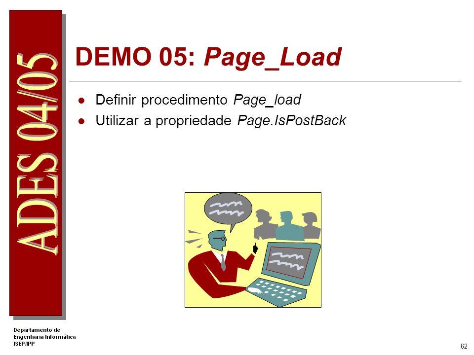 DEMO 05: Page_Load Definir procedimento Page_load
