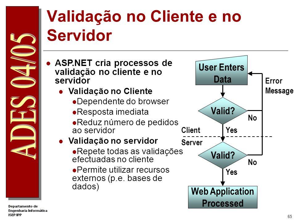 Validação no Cliente e no Servidor