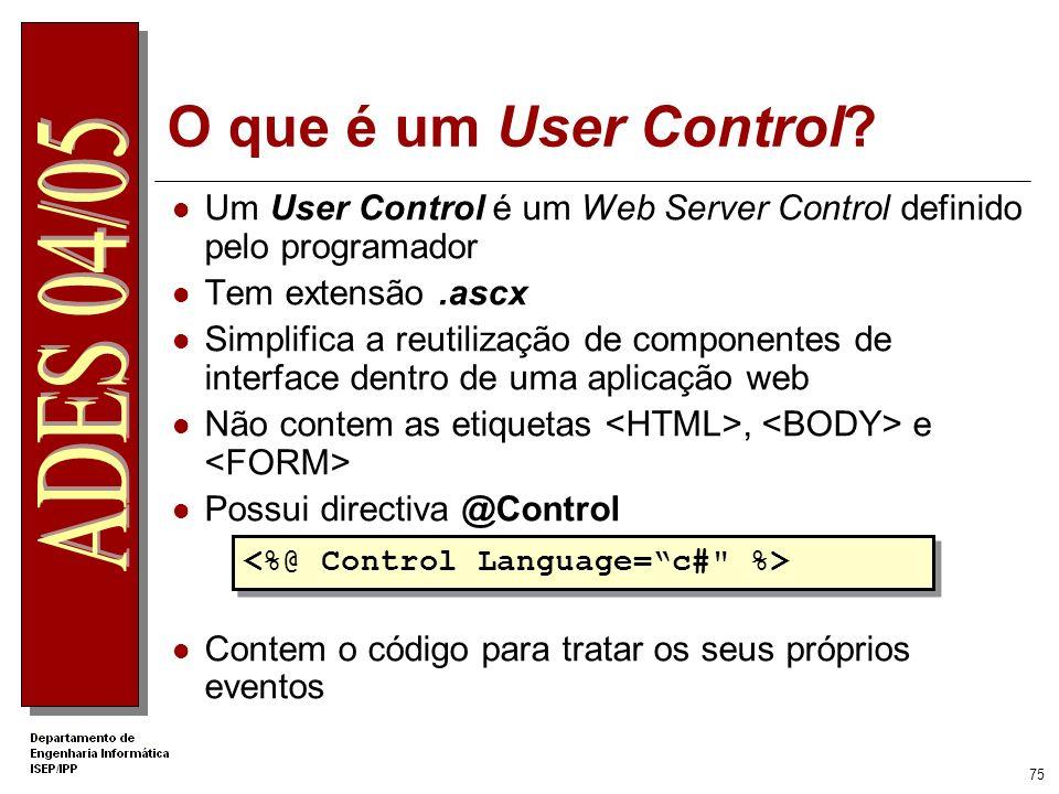 .Net Apprentice O que é um User Control Um User Control é um Web Server Control definido pelo programador.