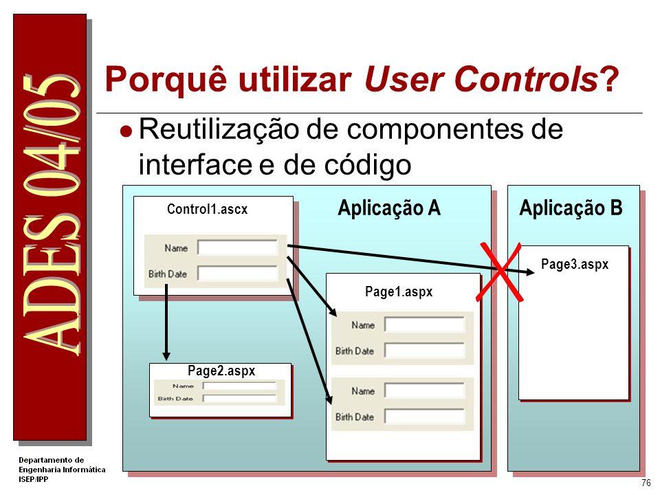 Porquê utilizar User Controls