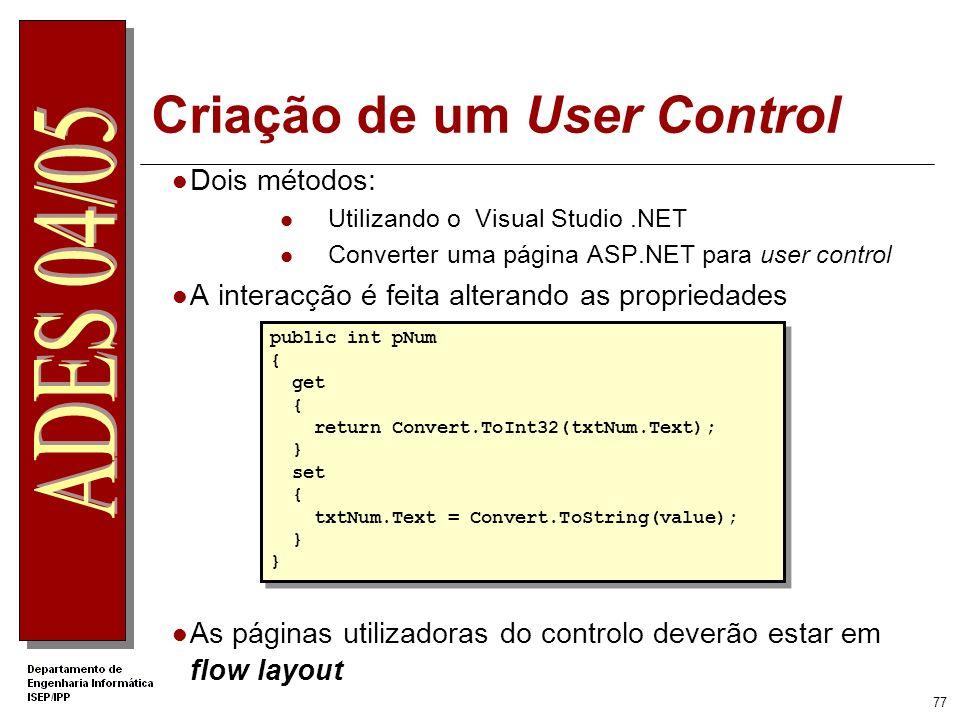 Criação de um User Control