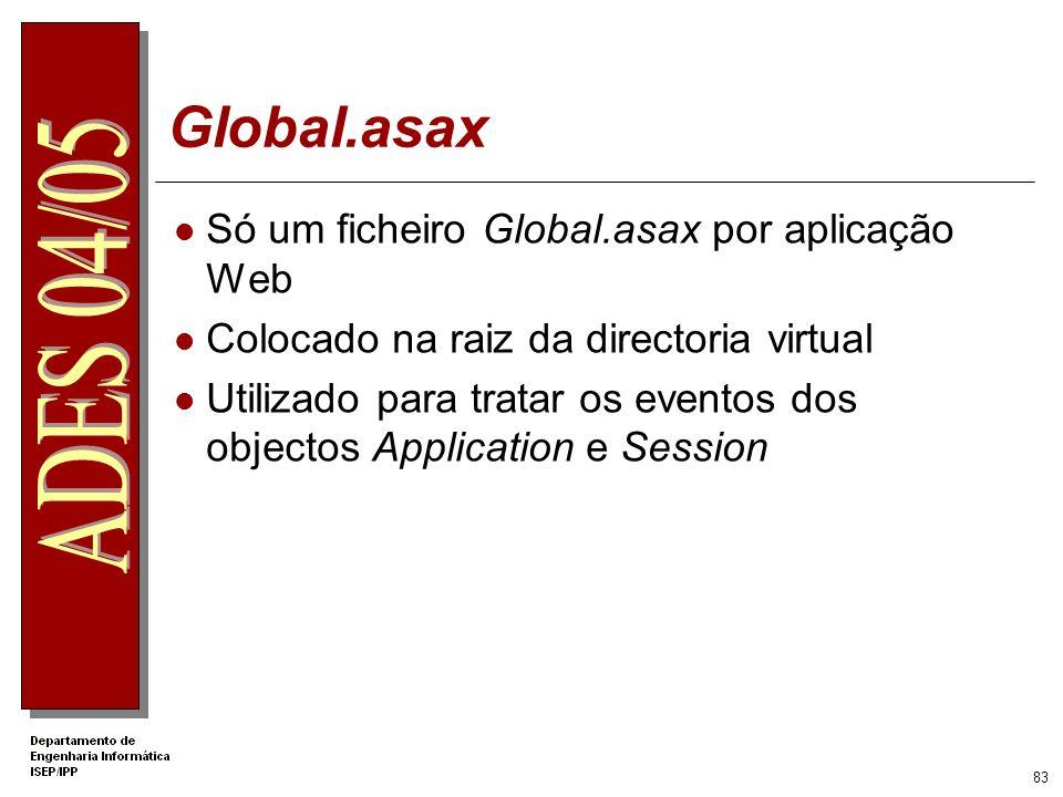 Global.asax Só um ficheiro Global.asax por aplicação Web