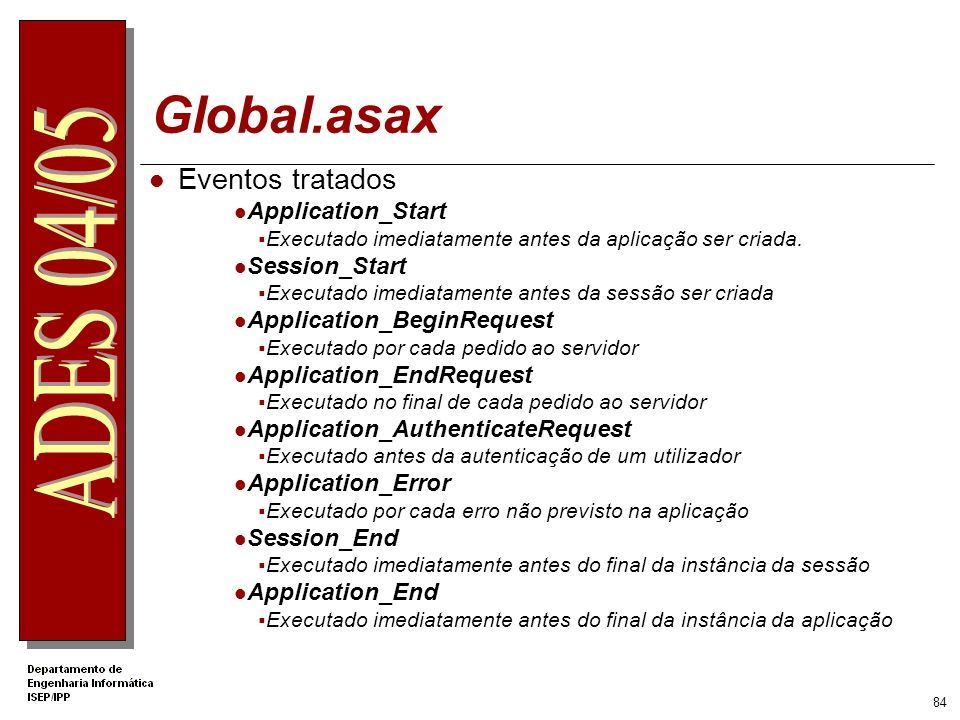 Global.asax Eventos tratados Application_Start Session_Start